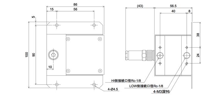 pt-105a-a外観取り付け寸法